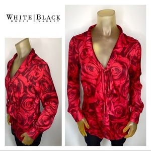 WHBM Red Floral Blouse Black Polka Dots Career 6
